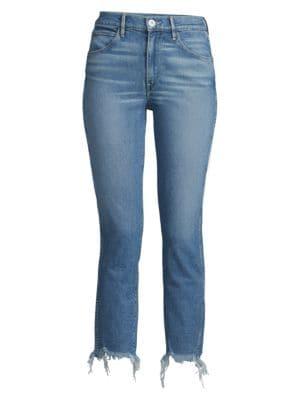 Straight Authentic Crop Raw-Hem Jeans