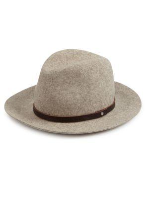Leather-Trim Wool-Felt Fedora