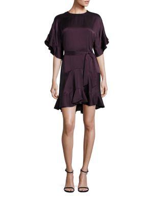 zimmermann female 215965 solid flouncy silk dress