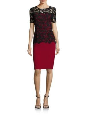 Ruby Lace Overlay Sheath Dress