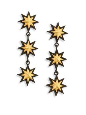 Triple Sunburst Drop Earrings