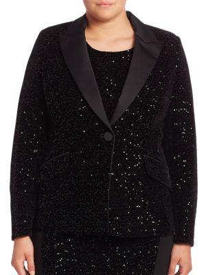 Elegante Fitted Sequin Jacket plus size,  plus size fashion plus size appare