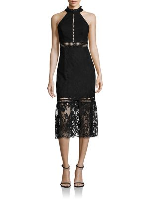 Lace Halter Midi Dress