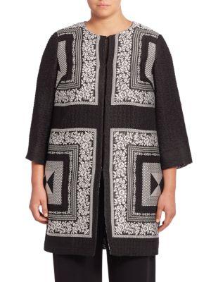 Elegante Embroidered Silk Blend Jacket plus size,  plus size fashion plus size appare