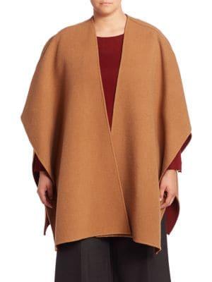 Reversible Wool Blend Poncho