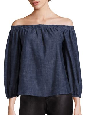 Jalen Chambray Off-The-Shoulder Top