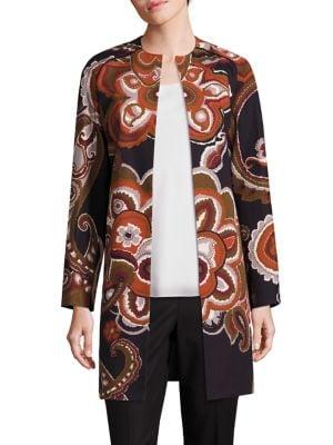 Makeda Cotton Fille Paisley-Print Coat