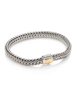 Classic Chain Hammered 18K Bonded Yellow Gold & Sterling Silver Small Bracelet