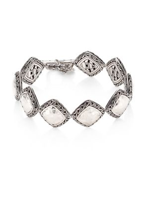 Classic Chain Hammered Silver Heritage Quadrangle Bracelet
