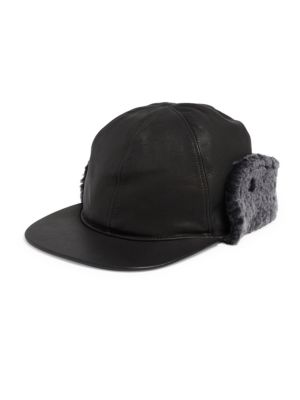 Sheepskin Shearling Fur Trimmed Leather Baseball Hat