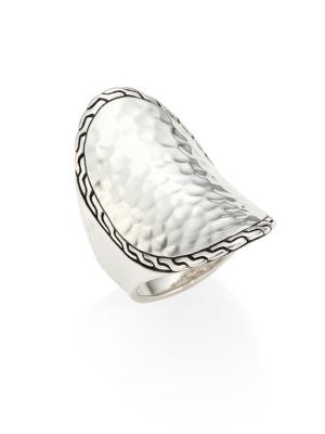 Classic Chain Hammered Sterling Silver Oval Ring