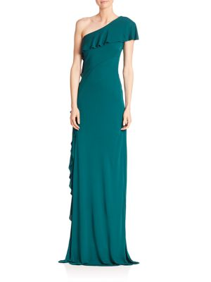 Solid Asymmetric One Shoulder Gown