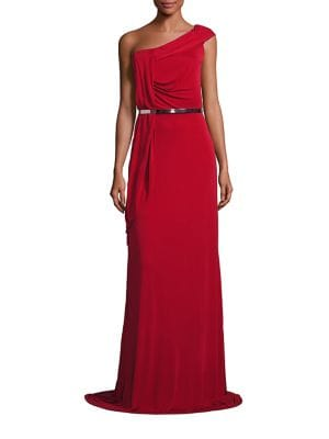 Draped One-Shoulder Belted Gown