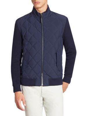 Quilted Down Mixed Media Bomber Jacket