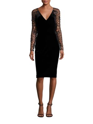 Velvet Lace Sleeve Sheath Dress