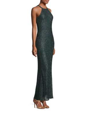 Beaded Halter Gown by Badgley Mischka