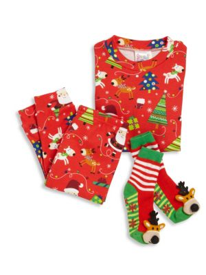 Toddler's & Little Boy's Three-Piece Snuggle Moon Christmas Pajama and Socks Set