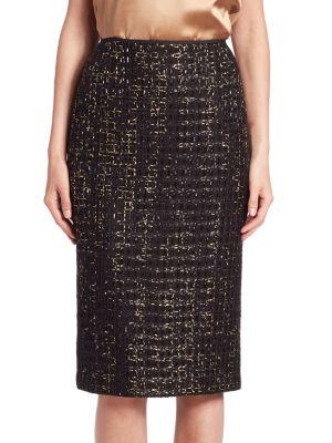 Metallic Tweed Pencil Skirt