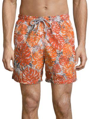 COLLECTION Palm Leaf Camo Printed Swim Shorts