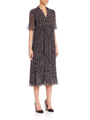 Leopard Print Georgette Midi Dress