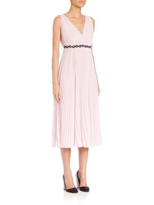 Georgette Pleated V-Neck Dress