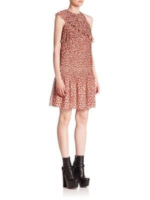 Plisse Bowtie Print Ruffle Dress