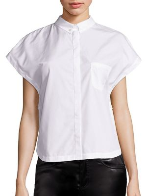Lace-Embroidered Poplin Blouse