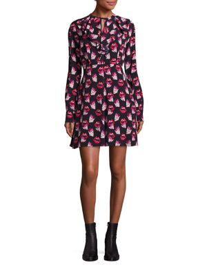Lip Print Ruffle Dress