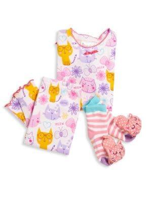 Toddler's & Little Girl's Three-Piece Snuggle Moon Cats Pajamas & Socks Set