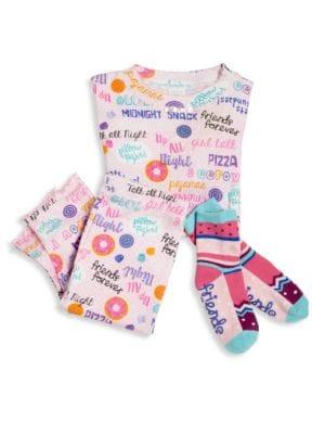 Toddler's & Little Girl's Three-Piece Snuggle Moon Sleepover Pajamas & Socks Set 0400091318889