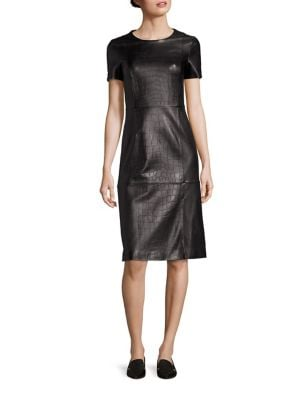 Syzilia Crocodile Embossed Leather Dress