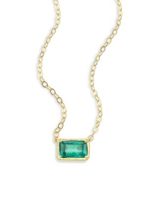 Leone 14K Yellow Gold & Emerald Pendant Necklace