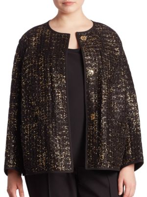 Holland Metallic Tweed Jacket plus size,  plus size fashion plus size appare
