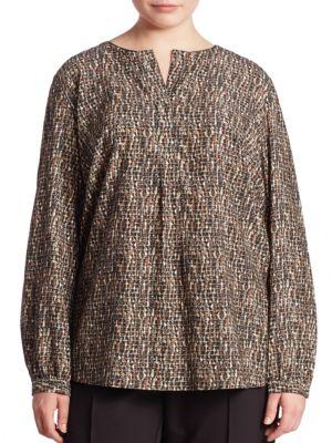 Samantha Stretch-Silk Printed Blouse plus size,  plus size fashion plus size appare