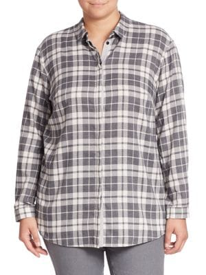 Sabira Plaid Shirt plus size,  plus size fashion plus size appare