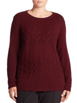 Cashmere Cable-Knit Sweater plus size,  plus size fashion plus size appare