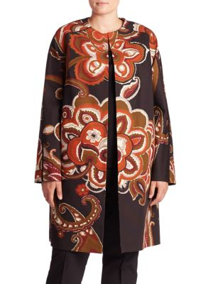 Makeda Cotton Fille Paisley-Print Coat plus size,  plus size fashion plus size appare