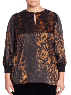 Kelsey Silk Leopard-Print Blouse plus size,  plus size fashion plus size appare