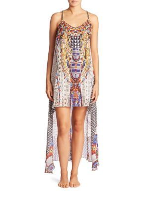camilla female echoes of engai embellished silk split front dress
