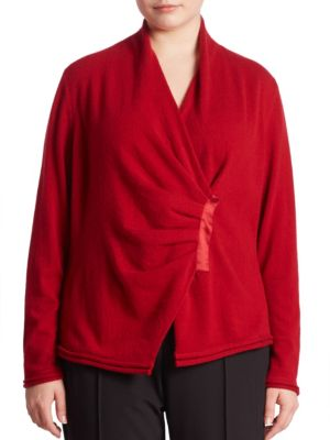 Cashmere Gathered Asymmetrical Sweater plus size,  plus size fashion plus size appare