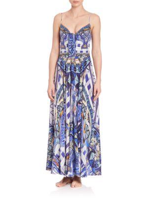 camilla female  rhythm blues long tiefront silk dress