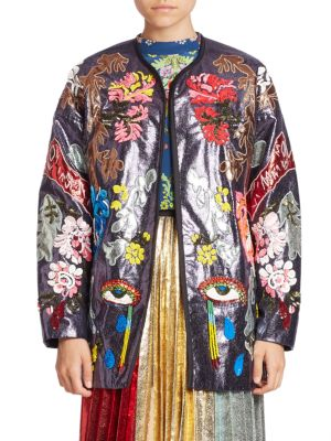 Embroidered Open Front Long Sleeve Jacket