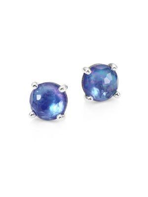 Rock Candy® Clear Quartz, Mother-Of-Pearl & Lapis Mini Stud Earrings