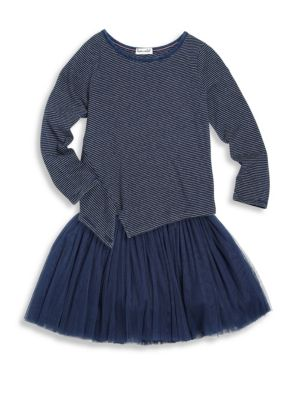 Toddlers and Little Girls Two-Piece Striped Top and Tulle Skirt Set