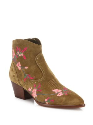 Heidi Floral-Embroidered Suede Boots