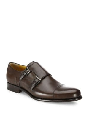 Leather Double Monk-Strap Loafers
