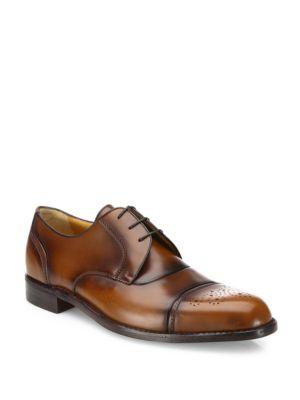 Leather Captoe Lace-Up Dress Shoes