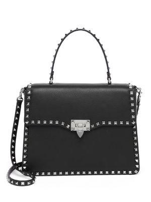 Rockstud Leather Top-Handle Satchel