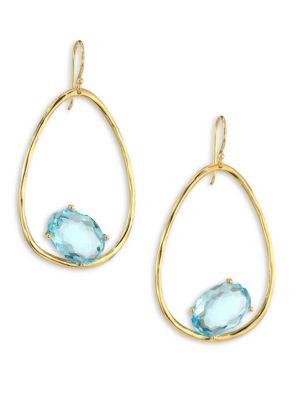 Rock Candy® Blue Topaz & 18K Yellow Gold Oval Earrings