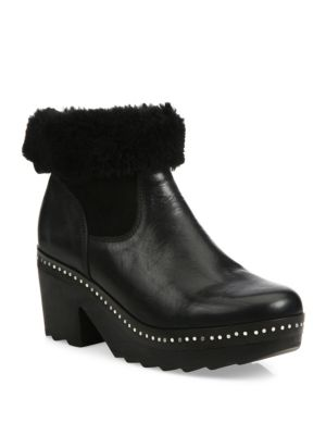 Nelson Leather & Shearling Clog Booties